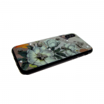 Задняя крышка Iphone X (10) Металлические бабочки и стразы белые цветы
