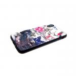 Задняя крышка Iphone X (10) Металлические бабочки и стразы роза и снегирь