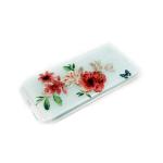 Силиконовый чехол Huawei Honor 7C прозрачный с цветочками, цветы красные