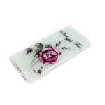 Силиконовый чехол Huawei Honor 7C прозрачный с цветочками, роза малиновая