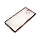 Силиконовый чехол Huawei Y6 II прозрачный с розовой окантовкой