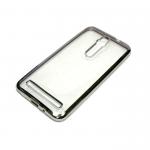 Силиконовый чехол Huawei Y6 II прозрачный с серебряной окантовкой