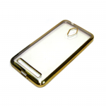 Силиконовый чехол Huawei Y6 II прозрачный с золотой окантовкой