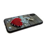 Задняя крышка Huawei Honor 9 сердца со стразами, прищепка