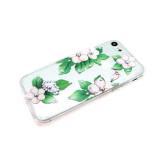 Силиконовый чехол Huawei Honor 6C Pro стразы-хамелеоны, с рисунком, цветы с листьями