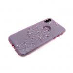 Силиконовый чехол Xiaomi Redmi 4X Note Younicou блестящий со стразами, цветок крупный фиолетовый