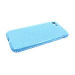 Силиконовый чехол Iphone 7/8 блестящий с окатовкой из страз, голубой