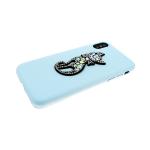 Задняя крышка Iphone 7/8 кошечка из страз, голубой