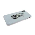 Задняя крышка Iphone 6/6S кошечка из страз, серый