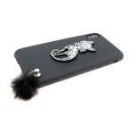 Задняя крышка Iphone 6/6S кошечка с пушком, черная