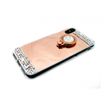 Силиконовый чехол Samsung Galaxy J2 Pro (2018) зеркальный со стразами, с кольцом, розовое-золото