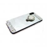 Силиконовый чехол Huawei Honor 8 Lite (2017) зеркальный со стразами, с кольцом, серебро