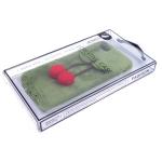 Силиконовый чехол Iphone 7/8 Creative Case меховой с вишенками, зеленый