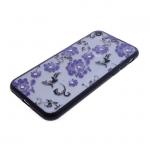 Задняя крышка Huawei P20 Lite Цветочки-завитушки со стразами, черный бампер, фиолетовый