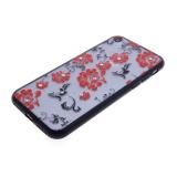 Задняя крышка Huawei P20 Lite Цветочки-завитушки со стразами, черный бампер, красный