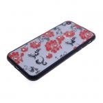 Чехол для Huawei P20 Lite Цветочки-завитушки со стразами, черный бампер, красный