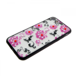 Задняя крышка Huawei P20 Lite Цветочки-завитушки со стразами, черный бампер, малиновый