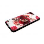 Силиконовый чехол Huawei Y3 2018 цветочный с попс, роза крупная малиновая