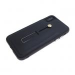 Задняя крышка Iphone X (10) Fashion c подставкой и кожаным кольцо-держателем, черная