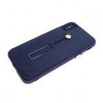 Задняя крышка Iphone X (10) Fashion c подставкой и кожаным кольцо-держателем, синяя