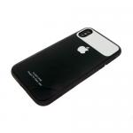 Задняя крышка Iphone X (10) Glass case с зеркальной вставкой, черная