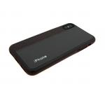 Силиконовый чехол Huawei Honor 7A Pro кожа с текстилем и логотипом, коричневы
