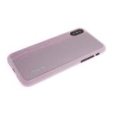 Силиконовый чехол Iphone XS Max 6.5 кожа с текстилем и логотипом, розовый
