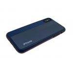 Силиконовый чехол Iphone XS Max 6.5 кожа с текстилем и логотипом, синий