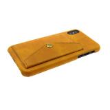 Чехол для Samsung J530 Galaxy J5 2017 кожанный с карманом на кнопке, светло-коричневая