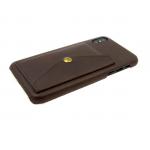 Задняя крышка Samsung J310 Galaxy J3 2016 кожанный с карманом на кнопке, темно-коричневая