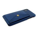 Чехол для Samsung J530 Galaxy J5 2017 кожанный с карманом на кнопке, темно-синяя