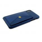 Задняя крышка Samsung J530 Galaxy J5 2017 кожанный с карманом на кнопке, темно-синяя
