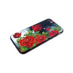 Задняя крышка Iphone 6/6S лаковые блестки с цветами, красные розы
