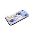 Задняя крышка Samsung J600F Galaxy J6 2018 лаковые блестки с цветами, синие колокольчики