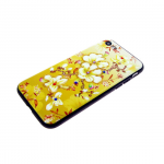 Задняя крышка Iphone X (10) лаковые блестки с цветами, желтые цветы