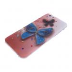 Силиконовый чехол Huawei P8 Lite (2017) лаковый с блестками, со стразами, рисунок Бабочка