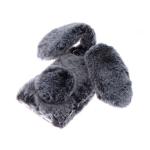 Силиконовый чехол Iphone X Меховой зайчик с ушками и хвостом, темно-серый
