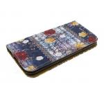 Чехол-книга NEW CASE с рисунком для Iphone 5/5S Желто-красные цветы