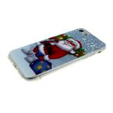 Силиконовый чехол Iphone 5/5S Новогодний, дед мороз с елкой