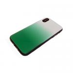 Задняя крышка Samsung J600F Galaxy J6 2018 пластик с переходом без лого, силиконовые борты, зеленая