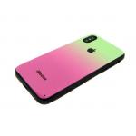 Задняя крышка Iphone X (10) пластик с переходом, с яблоком, силиконовые борты, зелено-розовая