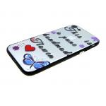 Задняя крышка Iphone 6/6S прозрачная с принтом, черная окантовка, handmade flower