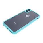 Силиконовый чехол Iphone 7 прозрачный, с резиновой рамкой бирюзовой