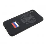 Силиконовый чехол Huawei Honor 10 Lite с гербом РФ и триколором, матовый черный