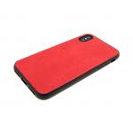 силиконовый чехол Samsung A605G Galaxy A6+ (2018) с кожей, красный