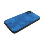 силиконовый чехол Samsung A605G Galaxy A6+ (2018) с кожей, синий