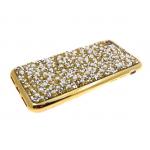 Силиконовый чехол Iphone 7/8 стекляшки с бусинками, золотой