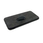 Задняя крышка Iphone 7 Plus/8 Plus эко-кожа, рифленый борт с подставкой, черная