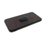Задняя крышка Iphone 7 Plus/8 Plus эко-кожа, рифленый борт с подставкой, коричневая