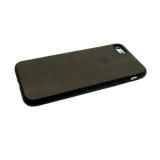 Силиконовый чехол Huawei Honor 8C эко-кожа с логотипом, черный ободок вокруг камеры, темно-коричневы